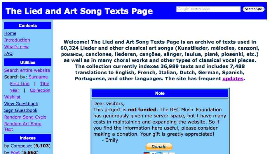 The Lied and Art Song Texts page for classical music songs